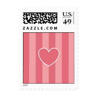 Hearts & Stripes Postage Stamps - Pink
