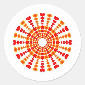 Hearts Sunburst Tattoo Round Stickers
