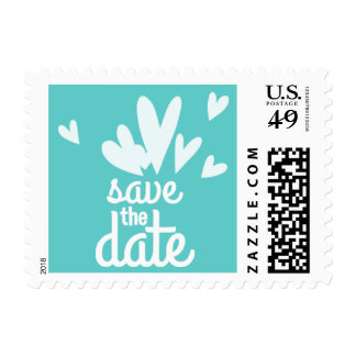 Hearts Teal Save the Date Postage Stamp