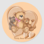 Hearts Teddy Bear Love Classic Round Sticker