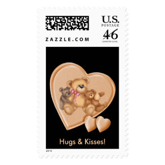 Hearts Teddy Bear Love Stamps