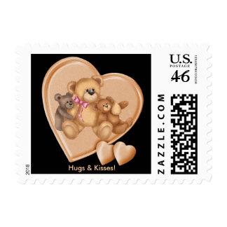 Hearts Teddy Bear Love Postage Stamp