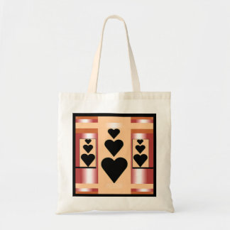 Hearts Tote Bag on Peach, Pink & Black