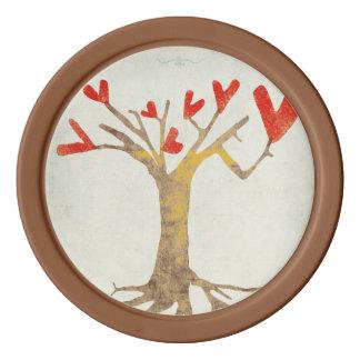 Hearts Tree Poker Chip Set