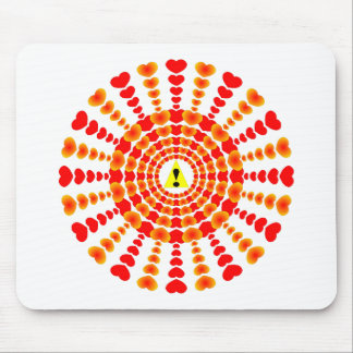 Hearts Triangle Exclamation Point Mouse Pad