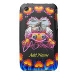 Hearts Trio in fire and angel wings Heart Breaker iPhone 3 Covers
