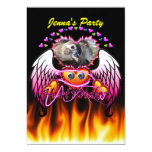 Hearts Trio in fire and angel wings Heart Breaker 5x7 Paper Invitation Card