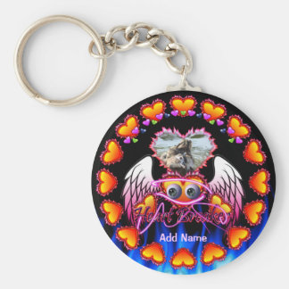 Hearts Trio in fire and angel wings Heart Breaker Key Chain