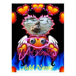 Hearts Trio in fire and angel wings Heart Breaker Postcard