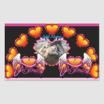 Hearts Trio in fire and angel wings Heart Breaker Rectangular Sticker