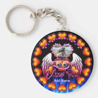 Hearts Trio with eyeballs angel wings I Love You Keychain