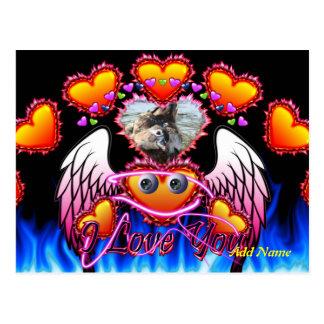 Hearts Trio with eyeballs angel wings I Love You Postcard