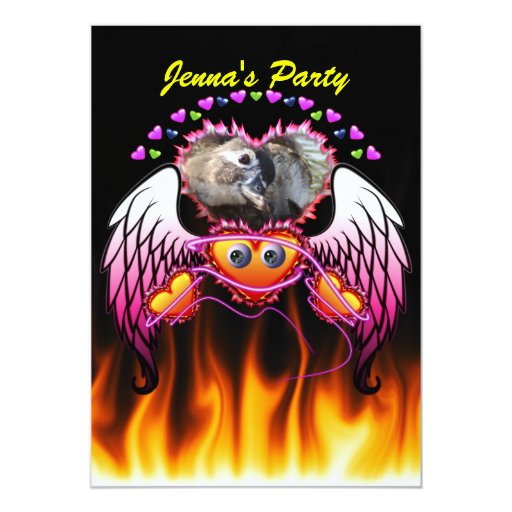 Hearts Trio with eyes in fire and angel wings 5x7 Paper Invitation Card