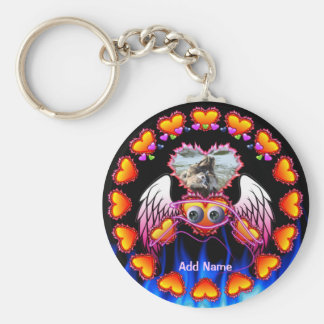 Hearts Trio with eyes in fire and angel wings Key Chain