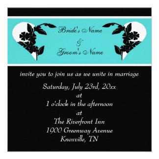 Hearts Turquoise and Black Wedding Invitation
