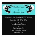 Hearts Turquoise and Black Wedding Invitation