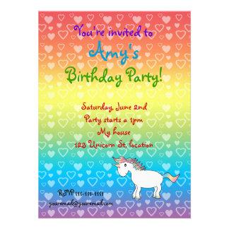 Hearts unicorn on rainbow birthday invitation