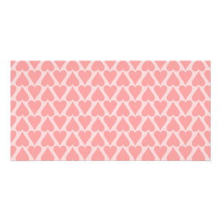 Hearts Valentine's Day Background Coral Pink Card