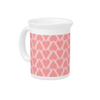 Hearts Valentine's Day Background Coral Pink Drink Pitcher