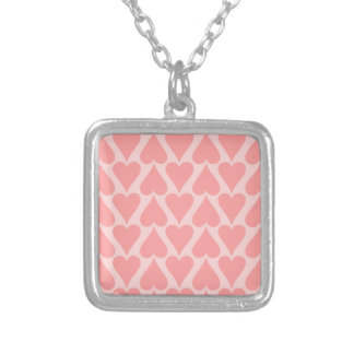 Hearts Valentine's Day Background Coral Pink Silver Plated Necklace