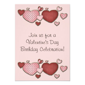 Hearts Valentine's Day Birthday Invite for Girls