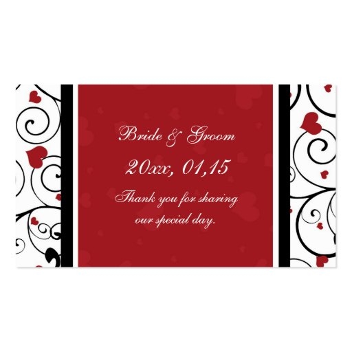 Hearts Valentine's Day Wedding Favor Tags Business Card