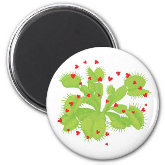 Hearts & Venus Flytrap 2 Inch Round Magnet