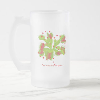 Hearts & Venus Flytrap Frosted Glass Beer Mug