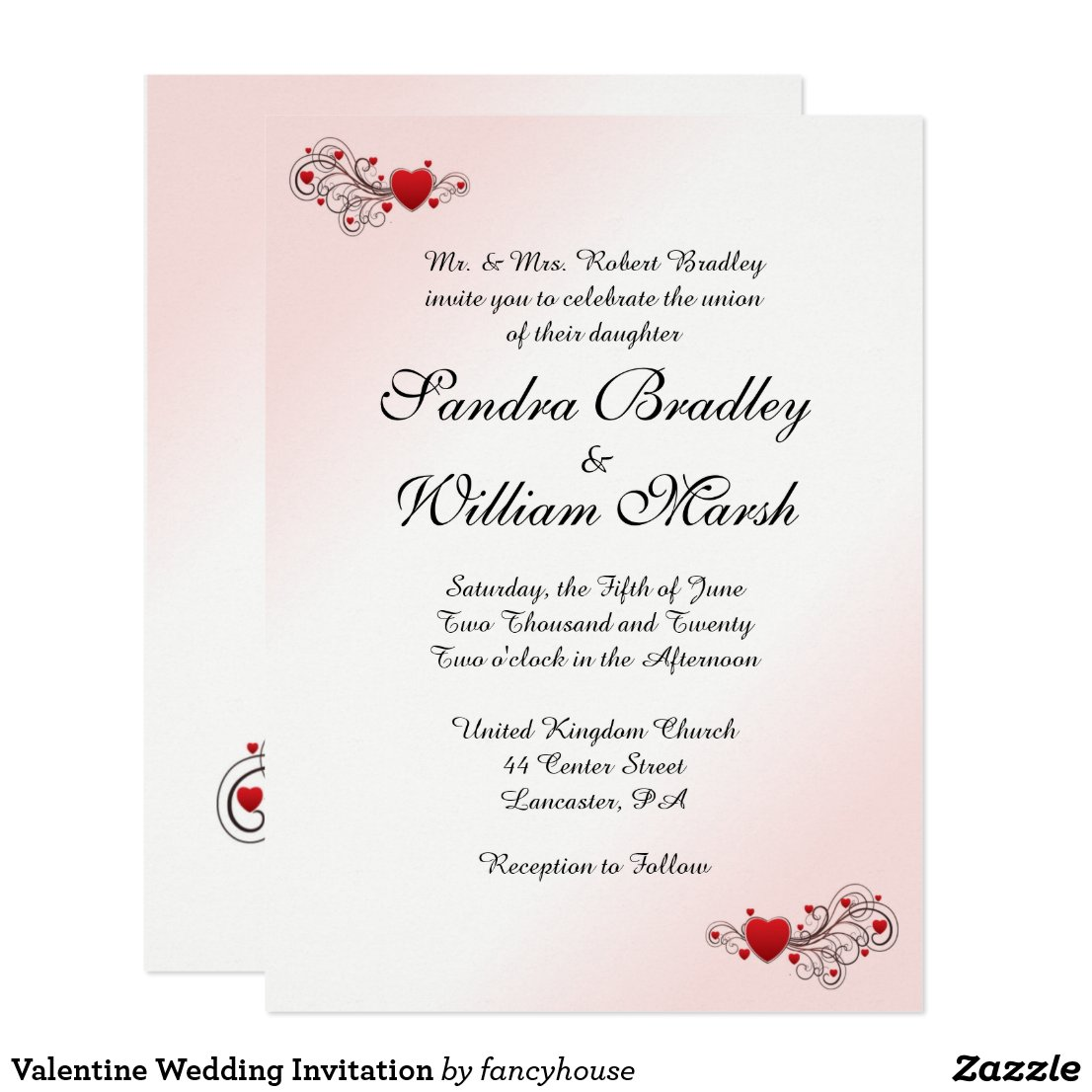 Hearts Wedding Invitation Pink Accent