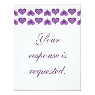 Hearts Wedding Reply Card Purple