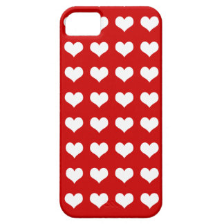 Hearts white on red iPhone 5 cases