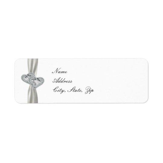 Hearts White Wedding Address Labels