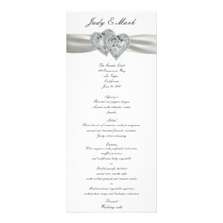 Hearts White Wedding Menu Card Custom Rack Cards