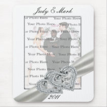 Hearts White Wedding Mouse Pad