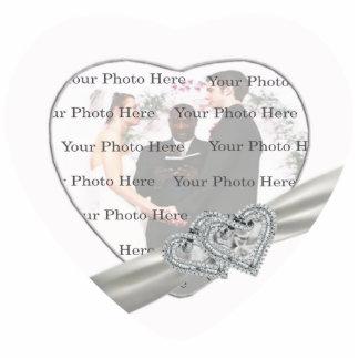 Hearts White Wedding Photo Frame Statuette