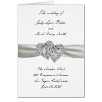 Hearts White Wedding Program Card