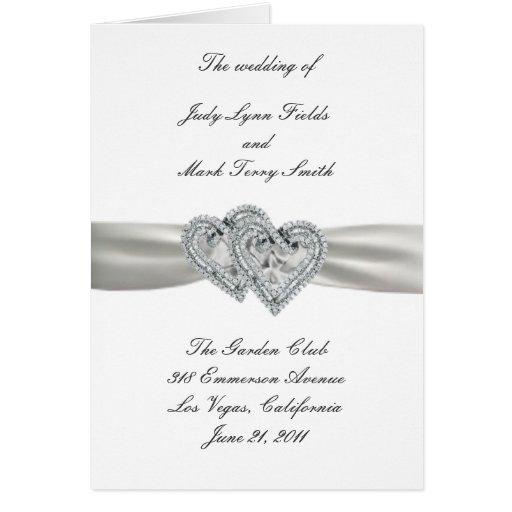 Hearts White Wedding Program Card Greeting Card