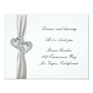Hearts White Wedding Reception Cards Personalized Invitation