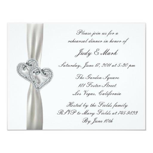 Hearts White Wedding Rehearsal Dinner Invitation