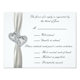 Hearts White Wedding Response Cards Custom Announcement