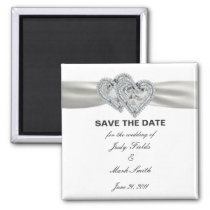 Hearts White Wedding Save The Date Magnet
