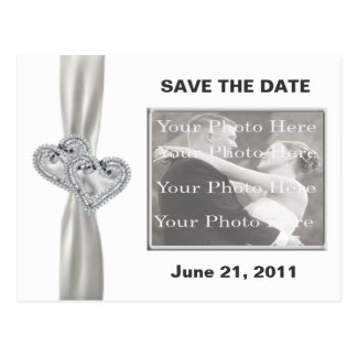 Hearts White Wedding Save The Date Postcard