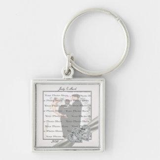Hearts White Wedding Square Silver Key Chain