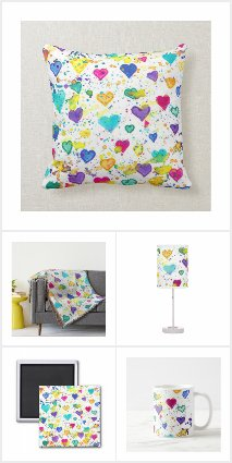 Hearts with Colorful Paint Splatters Home Decor