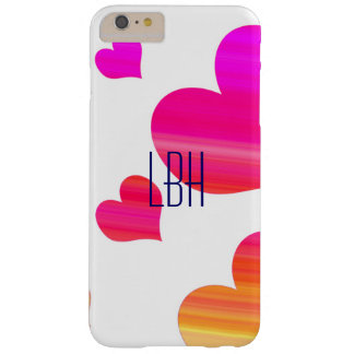 Hearts with Custom Monogram Barely There iPhone 6 Plus Case