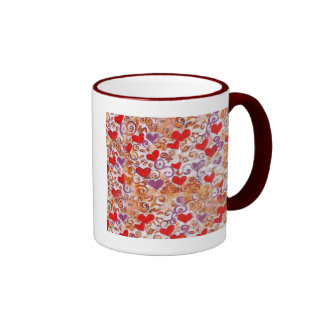 Hearts with gold vines coffee mugs