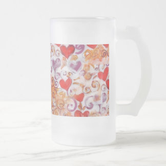 Hearts with gold vines, drink-ware coffee mug