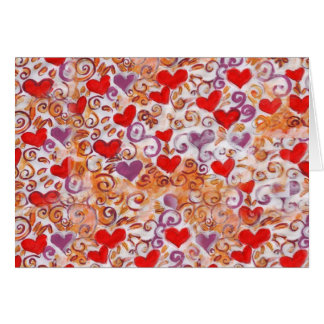 Hearts with gold vines greeting card