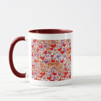 Hearts with gold vines mug