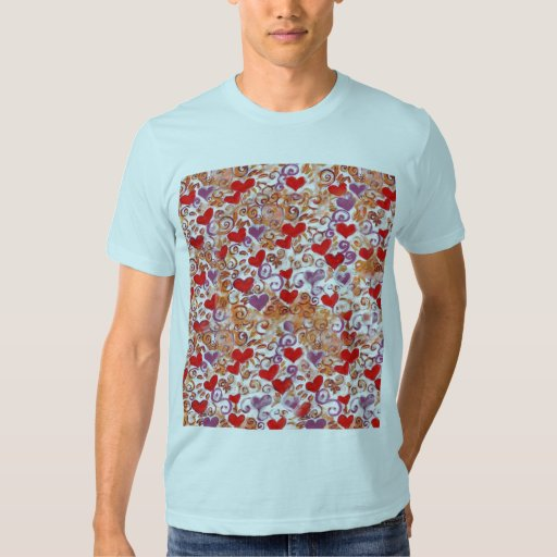 Hearts with gold vines t shirt